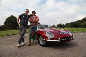 ALDRIDGE, UNITED KINGDOM- Tim Shaw and Fuzz Townshend driving a pristine Jaguar E-Type. (Photo credit: National Geographic Channels/Jon Scorer)